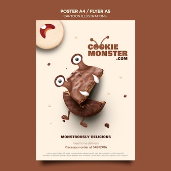 Affiche de monstre cookie illustrations de dessin animé