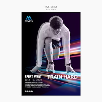 Affiche de motivation sport et technologie