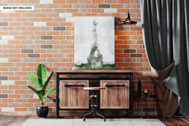 Affiche sur le mur de briques dans la maquette intérieure du loft