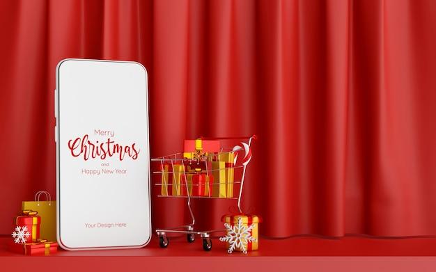 Affiche de noël des achats de noël en ligne sur le concept de smartphone, illustration 3d