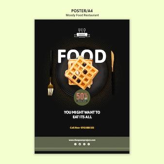 Affiche de nourriture moody avec des gaufres