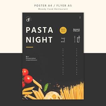 Affiche de nuit de pâtes au restaurant