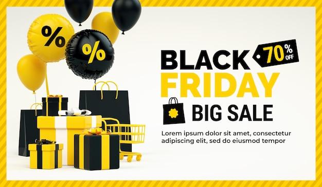 Affiche d'offre promotionnelle de vente de vendredi noir avec des trucs jaunes et un espace de texte en rendu 3d