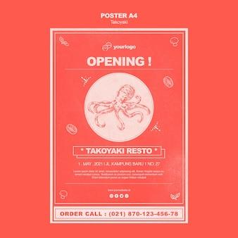 Affiche d'ouverture du restaurant takoyaki