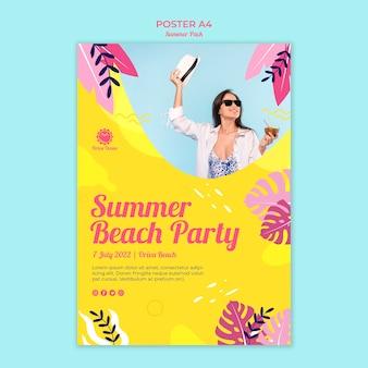 Affiche pour la fête de plage d'été