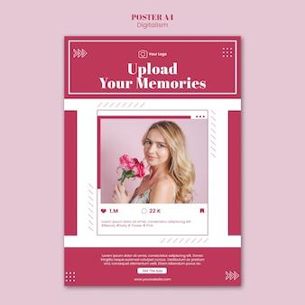 Affiche pour le téléchargement de photos sur les réseaux sociaux