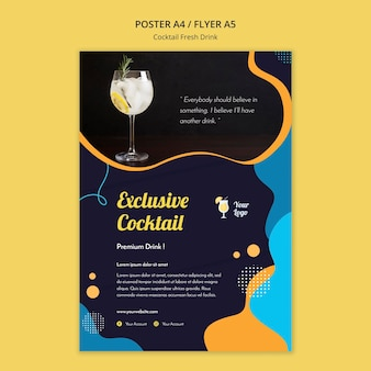 Affiche pour une variété de cocktails