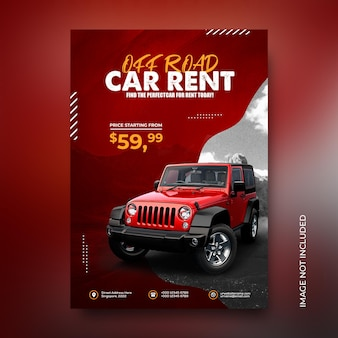 Affiche prête à imprimer pour la promotion de la location de voitures hors route, publication sur les médias sociaux, modèle instagram