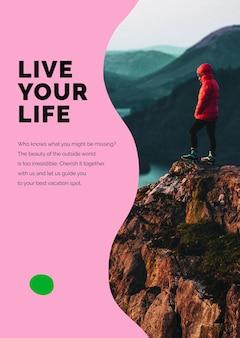 Affiche publicitaire psd de modèle de marketing de montagne de voyage pour les agences