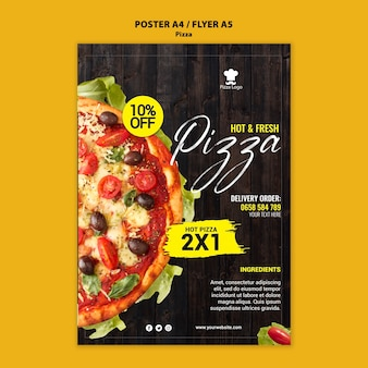 Affiche de restaurant de pizza avec photo