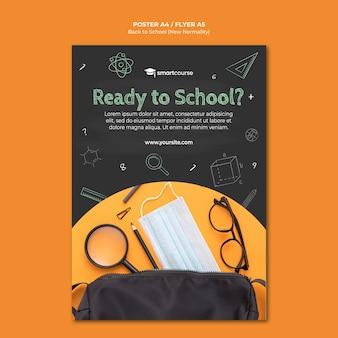 Affiche de retour à l'école avec photo