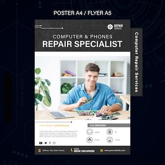 Affiche des services de réparation d'ordinateurs et de téléphones