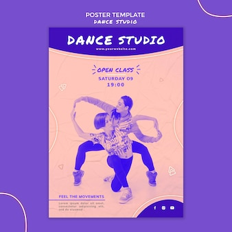 Affiche de studio de danse avec photo