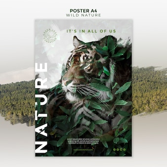 Affiche de tigre et feuilles de nature sauvage
