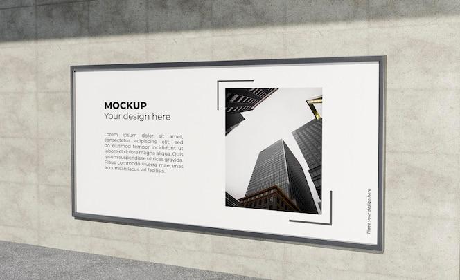 Affiche urbaine en béton gris maquette