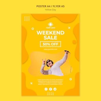 Affiche de vente de week-end de jour jaune