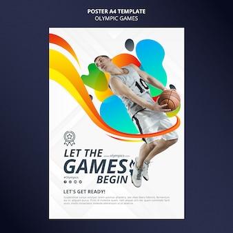 Affiche verticale de compétition sportive avec photo