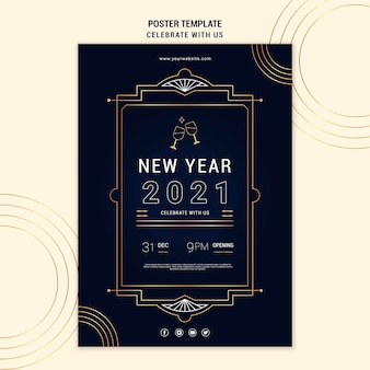 Affiche verticale élégante pour la fête du nouvel an