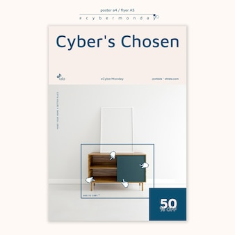 Affiche verticale pour les achats du cyber lundi