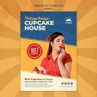 Affiche verticale pour boulangerie vintage avec femme