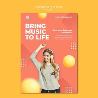 Affiche verticale pour diffuser de la musique en ligne avec une femme portant des écouteurs
