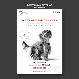 Affiche verticale pour entreprise de toilettage pour animaux de compagnie