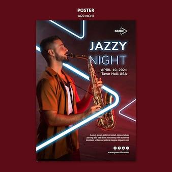Affiche verticale pour l'événement de nuit de jazz au néon