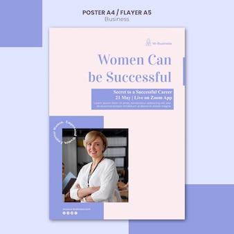 Affiche verticale pour les femmes en affaires