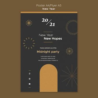 Affiche verticale pour la fête du nouvel an à minuit