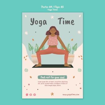 Affiche verticale pour l'heure du yoga