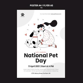 Affiche verticale pour la journée nationale des animaux de compagnie avec propriétaire et animal de compagnie