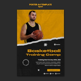 Affiche verticale pour un match de basket avec un joueur masculin