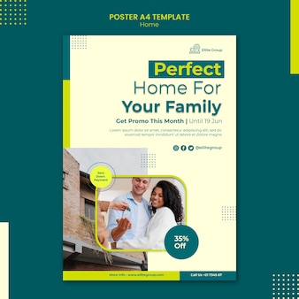 Affiche verticale pour nouvelle maison familiale