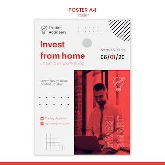 Affiche verticale pour la profession de négociant en investissement