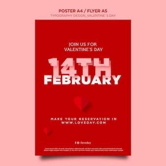 Affiche verticale pour la saint-valentin avec des coeurs