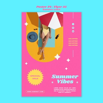 Affiche verticale pour les soldes d'été