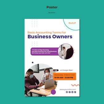 Affiche verticale pour le webinaire et le démarrage d'entreprise