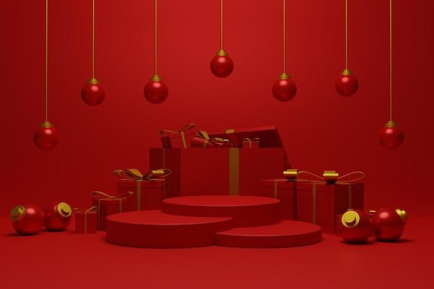 Afficher le podium de noël pour le stand de produit de couleur rouge