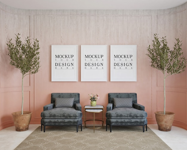 Affiches de maquette dans le salon classique avec fauteuils