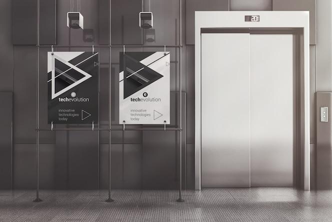 Affiches publicitaires à cadre en métal dans la maquette du hall