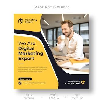 Agence de marketing numérique, publication instagram et modèle de bannière de médias sociaux