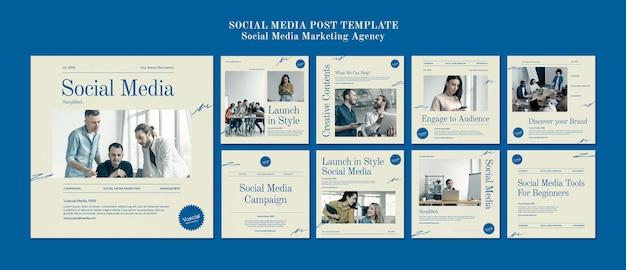 Agence de marketing sur les réseaux sociaux modèle de conception de publication sur les réseaux sociaux insta