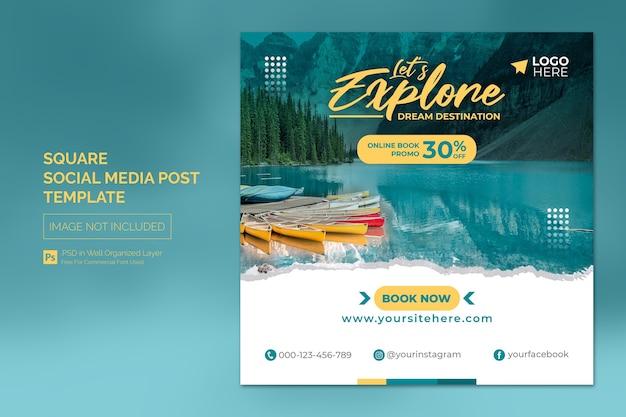 Agent de voyage et bannière carrée du tourisme ou modèle de publication sur les médias sociaux