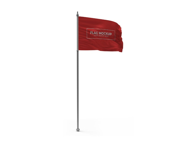 Agitant le drapeau de conception isolée de maquette 3d