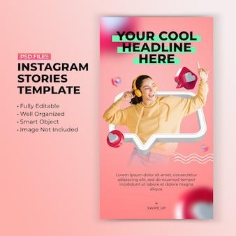 Aime comme un modèle d'histoire instagram coloré et moderne