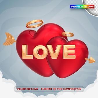 Aime l'illustration de la saint-valentin dans le rendu 3d