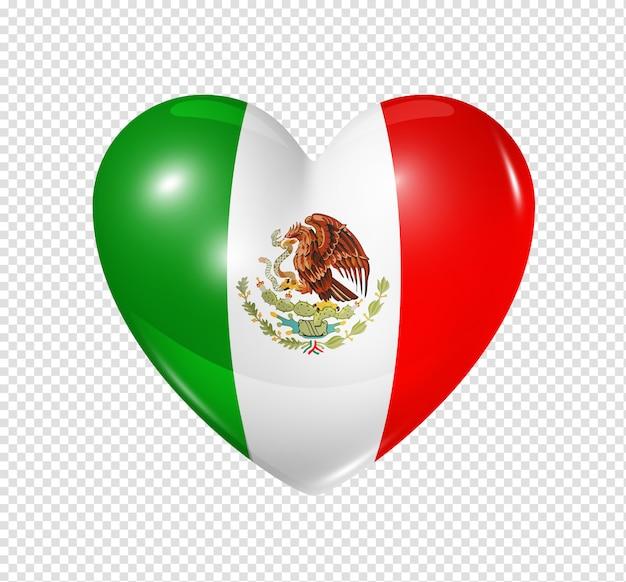 Aime le mexique, l'icône du drapeau coeur