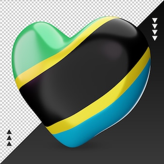 Aimez la vue de droite de rendu 3d de foyer de drapeau de la tanzanie