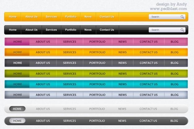Ainsi que barre de menu web psd pour une partie téléchargement gratuit