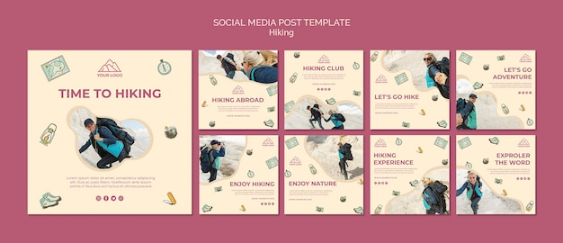 Allons randonnée modèle de publication sur les médias sociaux